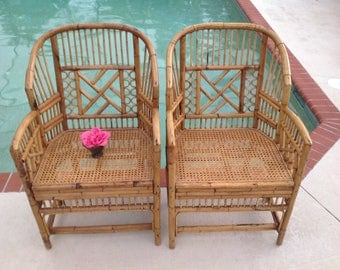 BAMBOO BRIGHTON Style CHAIRS / Pair Of Chinese Chippendale Rattan Chairs /  2 Bamboo And Cane