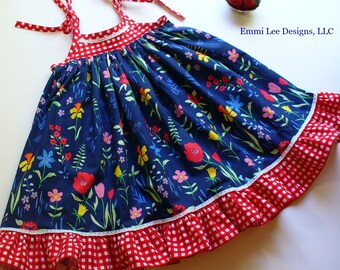Size 3T/4T Ready to Ship,Girls Fourth of July Dress,Girls 4th of July Dress,Little GIrl Dress, Toddler Dress,Red,Blue,White,Sarah Jane