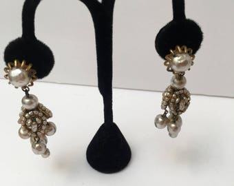 Miriam Haskell Baroque Pearl Chandelier Dangle Clip Earrings 1940s Jewelry