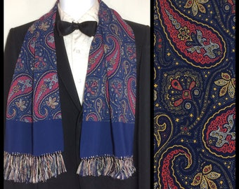 1930's 1940's Formal Crepe Rayon Paisley ascot cravat Opera scarf royal blue salmon pink yellow 44x10 inch plus fringe