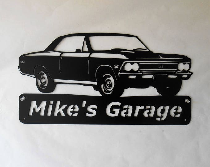 1966 Chevelle - Personalized Metal Sign- Man Cave- Classic - Muscle Car Art -Garage Sign -Satin black- Chevelle Art