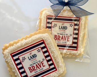 4th of July shortbread cookie favor-1 dozen