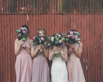 Mismatched Bridesmaids~ Southern Blush Satin Long Octopus Convertible Wrap Gown- Mismatched Bridesmaids, Wedding, Maternity, Plus Size