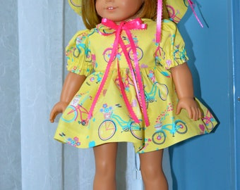 18 Inch Doll Clothes Three Piece Outfit Yellow Bicycle Print Short Sleeve Dress, Floppy Brimmed Hat and Matching Panties by SEWSWEETDAISY