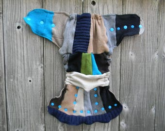 Upcycled Wool Nappy Cover Diaper Wrap Cloth Diaper Cover One Size Fits Most Boy's Color Patchwork Srappy / Beige