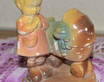 Vintage Chalkware Little Girl and Buggy~Nicks from the years~Still so precious!