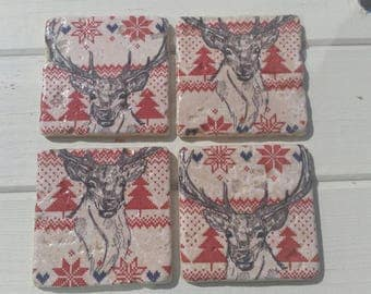 Norwegian Elk Stone Coaster Set of 4 Tea Coffee Beer Coasters
