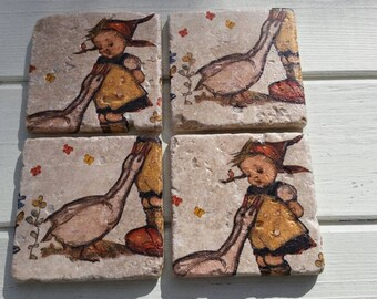 Whimsical Little Girl with Geese Stone Coaster Set of 4 Tea Coffee Beer Coasters