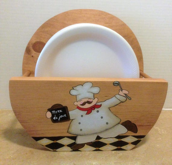 Paper Plate Holder, Chef Decor, Chef Kitchen Decor, Holder for Plates, Wooden Plate Holder, Chef Theme, Chef Kitchen Theme, Plate Storage