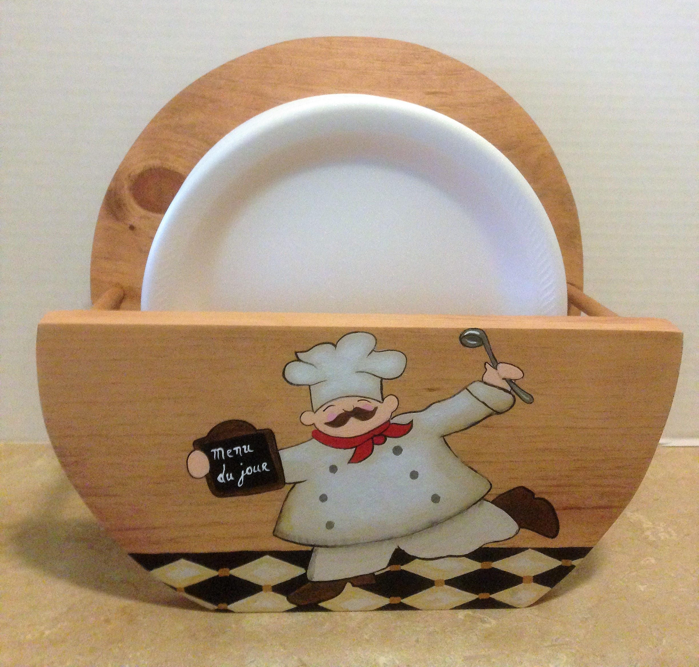 Paper Plate Holder Chef Decor Chef Kitchen Decor Holder for