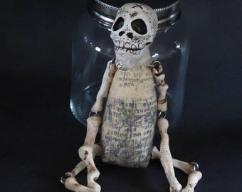 OOAK Klopp Original Folk Art Doll Gothic Skull Skeleton Day of the Dead Goth Macabre Creepy Cute Curiosity Cabinet Craneo Dia De Los Muertos