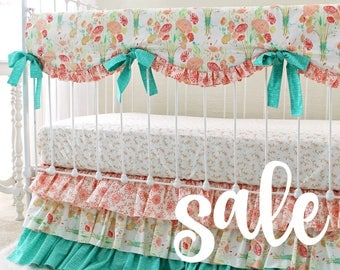 READY TO SHIP 30% Off Reminisce Baby Bedding Set with Mint Peach and Coral Floral, Custom Baby Girl Nursery with Ruffle Crib Skirt