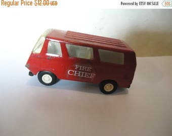 July Blowout Sale Vintage Tonka Red Fire Chief Metal Toy Van or Truck, collectable