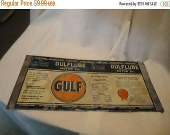 July Blowout Sale Unrolled Gulf Gulflube Motor Oil One Quart Tin Can or Sign From Estate