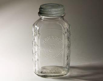 Vintage Monarch Finer Foods  Coffee Jar - circa 1930's