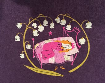 Heather Ross Kokka Far Far Away 2 Sleeping Beauty Plum FQ
