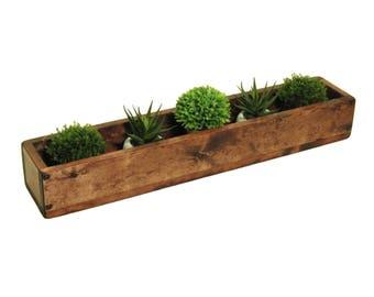 Wooden Trough Centerpiece, Long Wood Box, Long Narrow Table Trough, Long Wood Mantle Trough Box, Long Wooden Tray, Wooden Trough Centerpiece