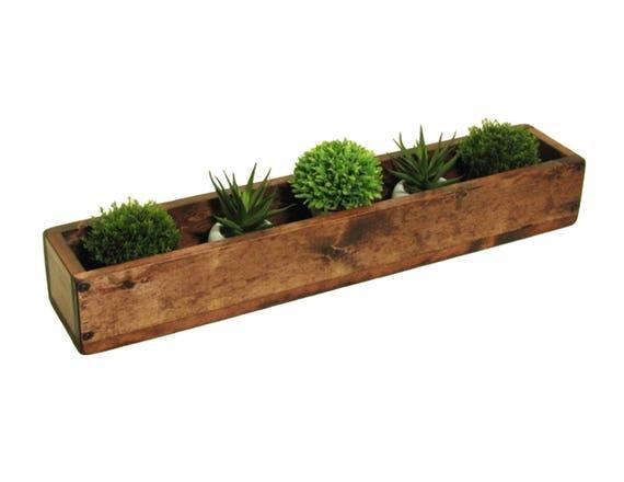 Wooden trough centerpiece long wood box narrow table