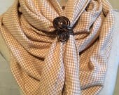 A Whimsiccal Triangular Shawl or Scarf....Wool Golden Check Fabric with a Scarf Holder