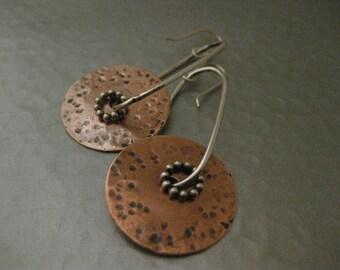 Copper Disk and Sterling Silver Earrings Dangle Drop Earrings Strawberry Frog