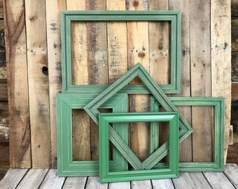 ON SALE - Leafy Green Picture Frame Set of 5 , Rustic Set, 7x9, 8x10, 9x12, 10x10, 11x17, Photo Frame, Gallery Frame Set, Lot 246