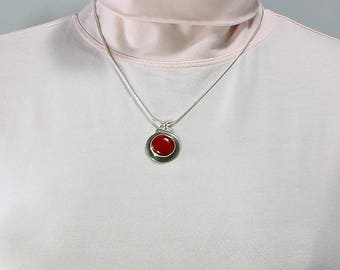 Handcrafted Sterling Silver & Red Jasper Round Pendant Minimalist Contemporary Artisan Jewelry Design 58064251101514