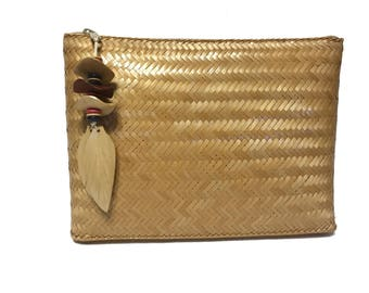 Vintage Woven Clutch Purse Handbag Exclusively for Valerie Made in Philippines Retro Pocketbook Brown Souvenir Carryall Pouch Evening Bag