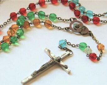 Vintage rosary. Multi coloured glass bead rosary.  Italian rosary beads