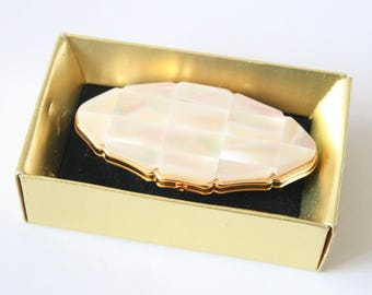 Vintage lipstick holder and mirror. Lipstick case.  Stratton lipview. In original box. Mother of Pearl