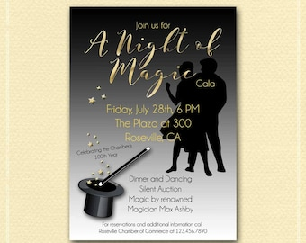 A Night of Magic Invitation, Birthday, Anniversary, Prom, Fundraiser, Corporate Event, Save the Date, Poster, Magic Wand Top Hat, DIY Print