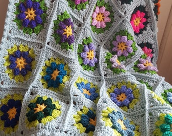 Primavera Flowers Granny Squares Blanket Afghan Crocheted In Stock