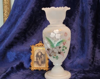 Frosty White Antique Hand Painted Bristol Glass Vase