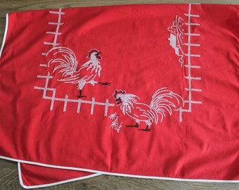Vintage Red Embroidered Farmhouse Chickens Tablecloth