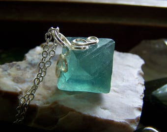 Teal Blue Green Color Change Fluorite Octahedron Crystal Pendant
