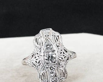 On Sale Beautiful Art Deco 18K White Gold Filigree Diamond Ring