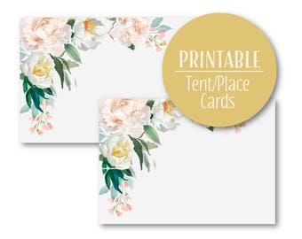Pastel Elegant Floral Tent Place Cards | Buffet Cards Place cards |  Printable   9026