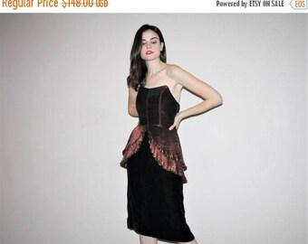 On SALE 35% Off - Vintage 1960s Avant Garde Mod Peplum Velvet Sweetheart Cocktail Dress - 60s Cocktail Dresses - W00815