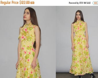 On SALE 35% Off - 1960s Yellow and Pink Tropical Floral High Neck Boho Hippie Festival Maxi Dress -  Floral Maxi Dress - 1960s Maxi Dresses
