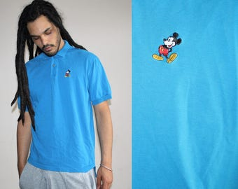90s Vintage Turquoise Blue Mickey Mouse Minimalist Hip Hop Polo T Shirt - 1990s Mickey Mouse - 90s Clothing - MV0449
