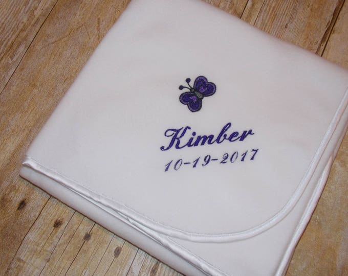 Personalized Butterfly baby blanket - Monogrammed christening blanket - baby shower gift - Embroider baby blanket - keepsake baby blanket