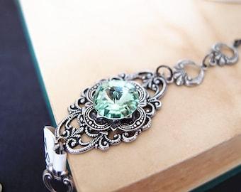 Hilaeira NO.2--Swarovski green crystal antique silver brass adjustable bracelet