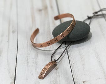 copper hand stamped bangle with matching pendant
