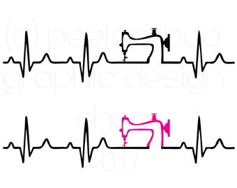 Sewing Machine Heartbeat Sewing SVG Cut File | Silhouette Cut File | Cricut Cut File | SVG Cut File | Commercial Use SVG