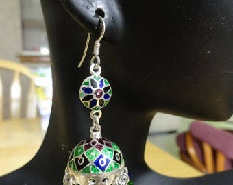 ON SALE Jaipur Jhumkas-J74- Meenakari with Green and Cobalt Blue Swarovski Crystals
