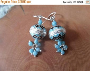 ON SALE FINAL Sale Jaipur Jhumkas - Meenakari Chandeliers with Blue Beads - J80