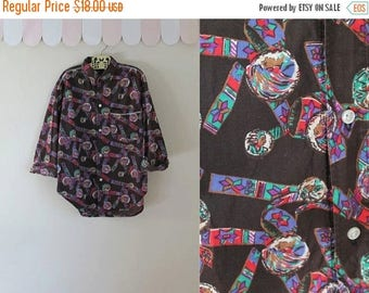 20% off SALE vintage boy's novelty print shirt - NATIVE AMERICAN print cotton button down / 10yr or Xxs