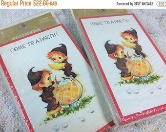 20% SALE Vintage Holiday Party Invitations with Pixies Elves - Christmas Festive Jolly Greeting Invitation Cards Two Sealed Packs
