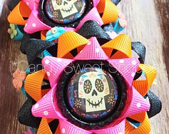 Pair of Day of the Dead  gift bows