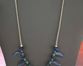 THE FINEST SILVER-on the market 935 Argentium Silver and Beautiful Kyanite and BlueGreen Apatite necklace ~ High-end Jewlery