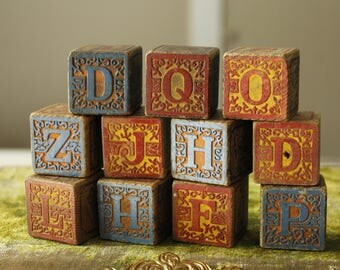 Antique Alphabet Blocks, Victorian Letter Blocks, Antique Toy, Vintage Wood Block Set, Primitive Collectible Letter Blocks, Old Toy Blocks